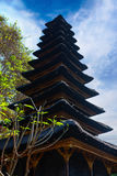 Traditional Balinese many tier palm roof in the temple Stock Images