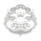 Traditional balinese mask. Barong. Vector EPS 10 hand drawn illustration Royalty Free Stock Images