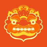 Traditional balinese mask. Barong. Vector EPS 10 hand drawn illustration Royalty Free Stock Photo
