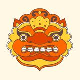 Traditional balinese mask. Barong. Vector EPS 10 hand drawn illustration Stock Photography