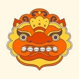 Traditional balinese mask. Barong. Vector EPS 10 hand drawn illustration stock photography