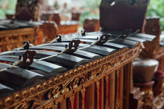 Traditional balinese music instruments, Ubud, Bali. Traditional balinese percussive music instruments instruments for Gamelan ensemble music, Ubud, Bali Stock Image