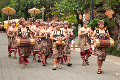 Traditional Balinese Musician Parade at Ubud stock photos