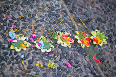 Traditional balinese offerings to gods Stock Photo
