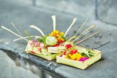 Traditional balinese offerings to gods Royalty Free Stock Photo