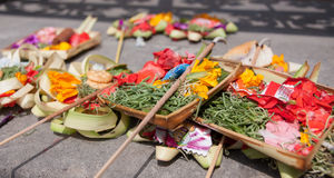 Traditional balinese offerings to gods Royalty Free Stock Photography