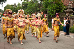 Traditional Balinese People Parade at Ubud Stock Photo