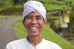 Traditional Balinese pilgrims royalty free stock photo