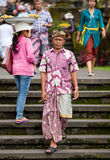 Traditional Balinese pilgrims Stock Images