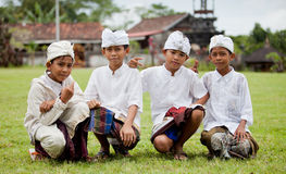 Traditional Balinese pilgrims. BALI - JANUARY 22. Balinese pilgrim children at Mother Temple in Besakih on January 22, 2012 in Bali, Indonesia. Most Balinese Stock Photography