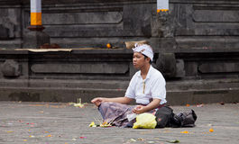 Traditional Balinese pilgrims Royalty Free Stock Images
