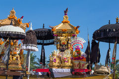 Traditional Balinese ritual altar during celebrate Balinese New Year and the arrival of spring on the beach Ketewel. Bali, Indones Royalty Free Stock Photography
