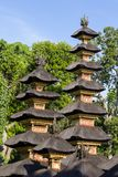 Traditional balinese roofs in hindu temple of Bali Island, Indonesia. Travel and architecture background. Stock Photo