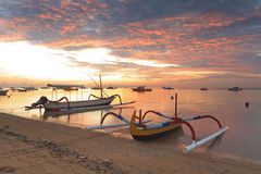 Traditional Balinese ships Jukung Royalty Free Stock Photos