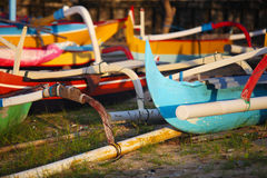 Traditional Balinese ships Jukung Stock Photography