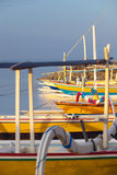 Traditional Balinese ships Jukung Stock Photo