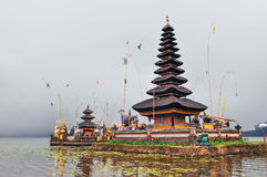 Traditional balinese temple on the lake, Bali. Indonesia stock images