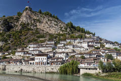 Traditional balkan houses in old town of berat albania Stock Photos