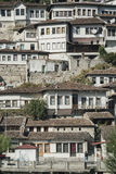 Traditional balkan houses in old town of berat albania Royalty Free Stock Photos