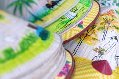 Traditional bamboo hats made on Hue, local market. Souvernir fro. M Vietnam stock photo