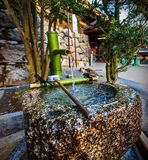 Traditional Bamboo Japanese water fountain. Stock Photos