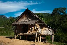 traditional bamboo stilt family home house building up in the mountains of south east asia stock images
