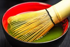 Traditional bamboo whisk and matcha tea Stock Photography