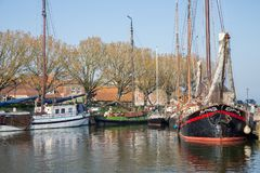 Traditional barge in harbor of Enkhuizen, The Netherlands Royalty Free Stock Photography