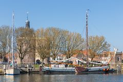 Traditional barge in harbor of Enkhuizen, The Netherlands Royalty Free Stock Image
