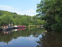 Free Traditional Barges Moored On The Rochdale Canal Surrounded By Calder Valley Countryside Near Hebden Bridge West Yorkshire Royalty Free Stock Image - 154990356