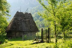 Traditional barn with straw roof Royalty Free Stock Photo