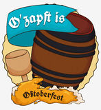 Traditional Barrel Tapping to Begin the Oktoberfest, Vector Illustration. Traditional beer barrel tapping with the proclaim: Its tapped or Ozapft is! in German Royalty Free Stock Image