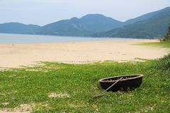 Traditional Basket Boat of Vietnam stock image