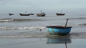 Traditional basket fishing boat at fisherman village stock footage