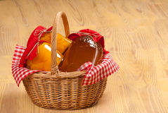 Traditional basket of honey Royalty Free Stock Image