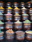 Traditional baskets of colorful spices in shop Royalty Free Stock Photography