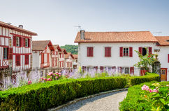 Traditional Basque houses in La Bastide-Clairence. Stock Photos
