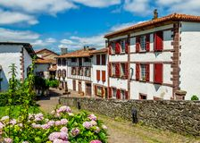 Traditional Basque houses in Saint-Jean-Pied-de-Port Stock Photography