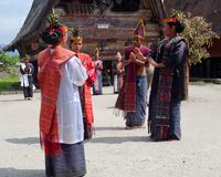 Traditional Batak Dance. Local Batak dancers performing outdoors at Museum Huta Bolon Simanindo. The museum is located in the village of Simanindo on Samosir stock image