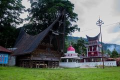 Traditional Batak house on the Samosir island North Sumatra Indonesia.  Royalty Free Stock Photos