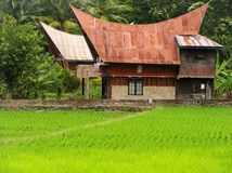 Traditional Batak house on Samosir island, Sumatra, Indonesia Stock Image