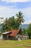 Traditional Batak house on Samosir island, Sumatra, Indonesia Stock Photo