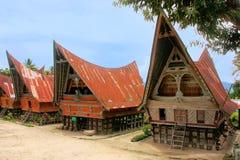 Traditional Batak houses on Samosir island, Sumatra, Indonesia Royalty Free Stock Photography
