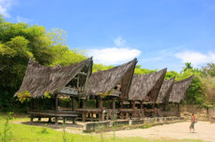 Traditional Batak houses on Samosir island, Sumatra, Indonesia Stock Images