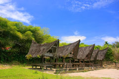 Traditional Batak houses on Samosir island, Sumatra, Indonesia Stock Photo