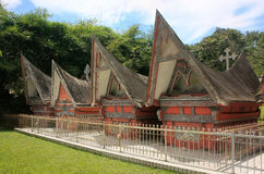 Traditional Batak houses on Samosir island, Sumatra, Indonesia Stock Image