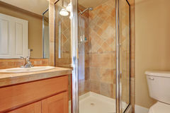 Traditional bathroom with glass screened shower. Traditional bathroom with glass screened shower with tile wall trim and bathroom vanity. Northwest, USA Royalty Free Stock Photos