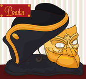 Traditional Bauta Mask, Cape and Tricorn for Carnival of Venice, Vector Illustration Royalty Free Stock Photo