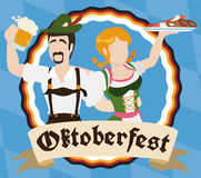 Traditional Bavarian Couple Drinking and Eating During Oktoberfest, Vector Illustration. Bavarian couple in traditional clothes celebrating and having fun in Royalty Free Stock Photos