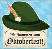 Traditional Bavarian Felt Hat with Scroll for Oktoberfest Celebration, Vector Illustration Royalty Free Stock Photos